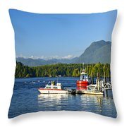 Boats At Dock In Tofino Throw Pillow