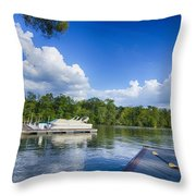 Boats At Dock On A Lake With Blue Sky Throw Pillow