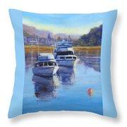 Boats At Merimbula Australia  Throw Pillow