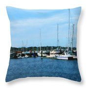 Boats At Newport Ri Throw Pillow