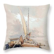 Boats At Quayside Lake Geneva Throw Pillow