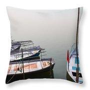 Boats At Sangam Throw Pillow