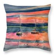 Boats At Skaneateles Lake Ny Throw Pillow
