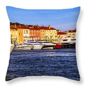 Boats At St.tropez Harbor Throw Pillow