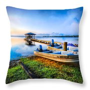 Boats At The Lake Throw Pillow
