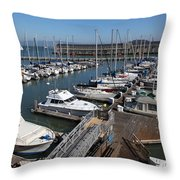 Boats At The San Francisco Pier 39 Docks 5d26004 Throw Pillow