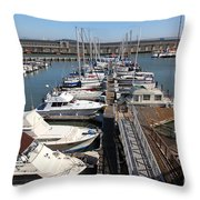 Boats At The San Francisco Pier 39 Docks 5d26005 Throw Pillow