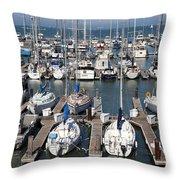 Boats At The San Francisco Pier 39 Docks 5d26009 Throw Pillow
