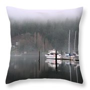 Boats Between Water And Fog Throw Pillow