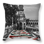 Boats By The Plaza De Espana Seville Throw Pillow by Mary Machare