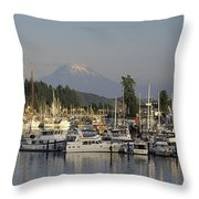 Boats Docked At A Harbor With Mountain Throw Pillow