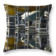 Boats Docked For The Winter Throw Pillow