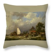 Boats Docking In An Estuary Throw Pillow