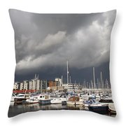 Boats In A Marina Throw Pillow