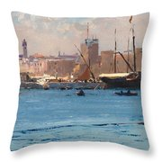 Boats In A Port Throw Pillow