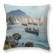 Boats In A Rocky Cove  Throw Pillow