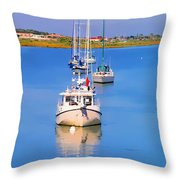 Boats In A Row Throw Pillow