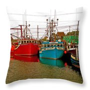 Boats In Branch Marina-nl Throw Pillow
