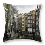 Boats In Canal Amsterdam Throw Pillow