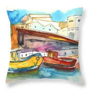 Boats In Ericeira In Portugal Throw Pillow by Miki De Goodaboom