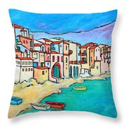 Boats In Front Of Buildings Viii Throw Pillow by Xueling Zou