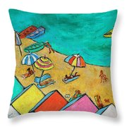 Boats In Front Of The Buildings Ix Throw Pillow