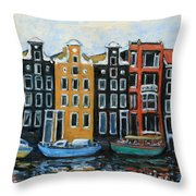 Boats In Front Of The Buildings Vi Throw Pillow