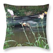 Boats In Giverny Throw Pillow
