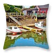 Boats In Halls Harbour-nova Scotia  Throw Pillow