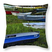 Boats In Marsh - Cape Neddick - Maine Throw Pillow