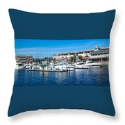 Boats In Port 5 Throw Pillow