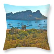 Boats In San Carlos Harbor-sonora-mexico Throw Pillow