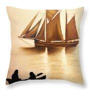 Boats In Sun Light Throw Pillow