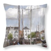 Boats In The Harbor 1905 Throw Pillow