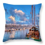 Boats In The Harbor Of Barcelona Throw Pillow