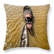 Boats In The Mekong River - Vietnam Throw Pillow