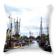 Boats In The Old Harbor Throw Pillow