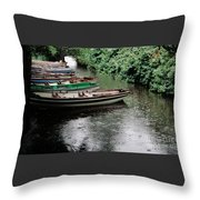 Boats In The Rain Ross Castle Ireland Throw Pillow