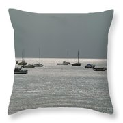 Boats In The Sea. Normandy. France. Europe Throw Pillow by Bernard Jaubert