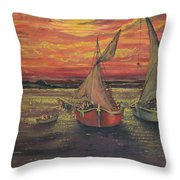 Boats In The Sea Throw Pillow