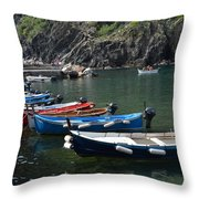 Boats In Vernazza Throw Pillow