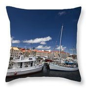 Boats Line Victoria Dock Hobar Throw Pillow