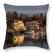 Boats Moored At Harbor During Dusk Throw Pillow