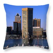 Boats Moored At Inner Harbor Viewed Throw Pillow