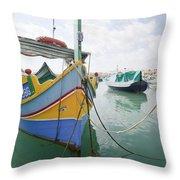 Boats Of Malta Throw Pillow