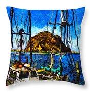Boats Of Morro Bay Throw Pillow
