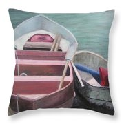 Boats Of The Lighthouse Throw Pillow