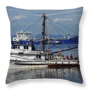 Boats Of The North West Throw Pillow