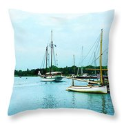 Boats On A Calm Sea Throw Pillow
