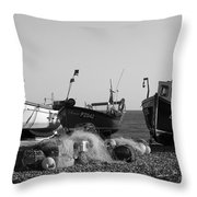 Boats On Beer Beach Throw Pillow